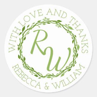 Woodsy Elegance   Wedding Vine Thank You Favor Round Sticker