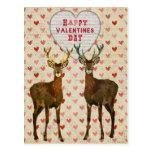 Woodsy Elk Valentines Day Postcard