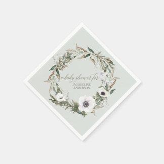 Woodsy Foliage Floral Wreath Anemone Watercolor Disposable Serviette