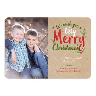 Woodsy Kraft We Wish You a Merry Christmas Card