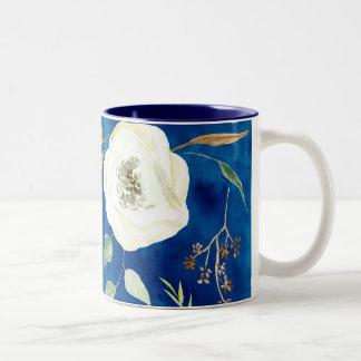 Woodsy Nature Watercolor Eucalyptus Seeds leaf Art Two-Tone Coffee Mug