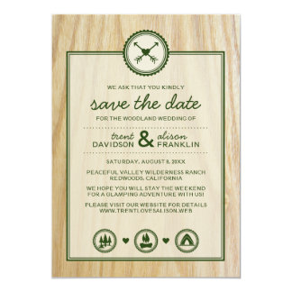 Woodsy Wedding & Glamping Save the Dates 13 Cm X 18 Cm Invitation Card