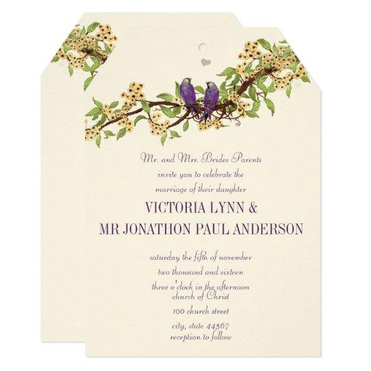 Woodsy Yellow Purple Love Bird Wedding Invitations