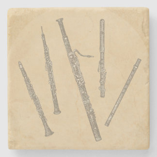 Woodwind Instruments Old Line Drawings Stone Beverage Coaster