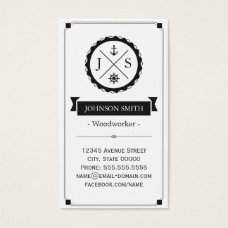 Woodworker - Retro Nautical Monogram Business Card