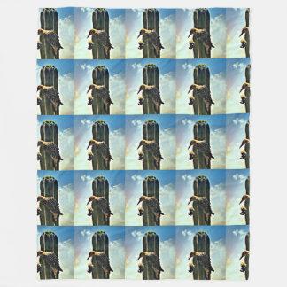 Woody on Saguaro Large Fleece Blanket