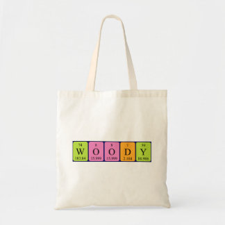 Woody periodic table name tote bag
