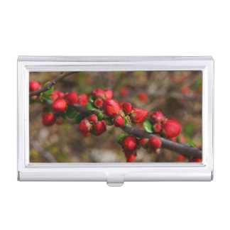 Woody Red Blooms Business Card Holder