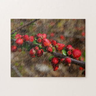 Woody Red Blooms Jigsaw Puzzle