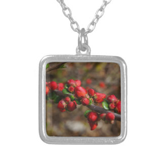Woody Red Blooms Silver Plated Necklace