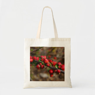 Woody Red Blooms Tote Bag
