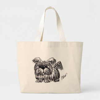 Woof A Dust Mop Dog Large Tote Bag
