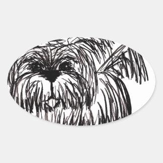 Woof A Dust Mop Dog Oval Sticker
