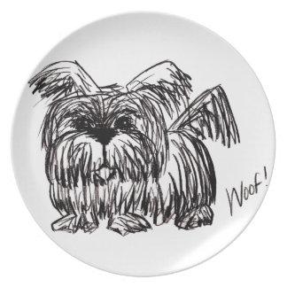 Woof A Dust Mop Dog Plate