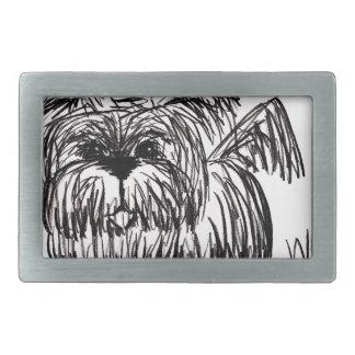 Woof A Dust Mop Dog Rectangular Belt Buckles