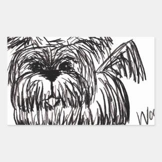 Woof A Dust Mop Dog Rectangular Sticker