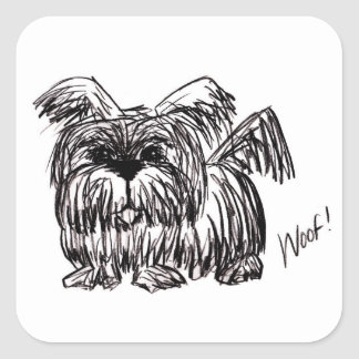 Woof A Dust Mop Dog Square Sticker