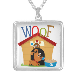 Woof Dog Square Pendant Necklace
