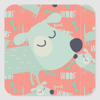 Woof Dogs and Bones Square Sticker