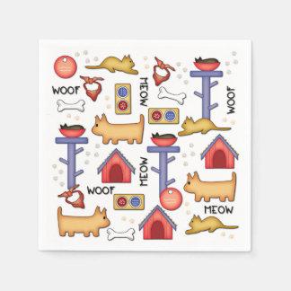 Woof & Meow White Paper Napkins Disposable Napkin