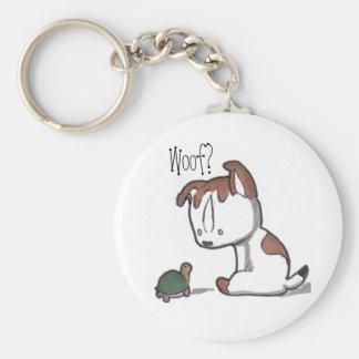 Woof? Puppy Keychain! Basic Round Button Key Ring