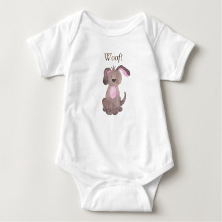 Woof says this cute puppy dog Personalize Baby Bodysuit