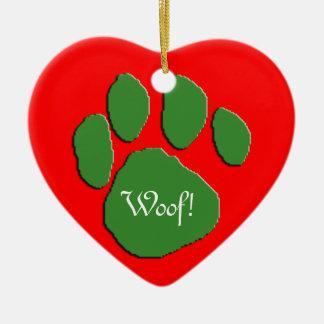 Woof Woof Holidays Ceramic Heart Decoration