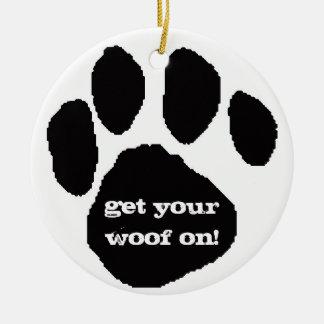 Woof Woof Holidays Round Ceramic Decoration