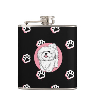 woof! woof! Lhasa apso Hip Flask