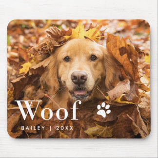 Woof | Your Dog's Photo and a Paw Print Mouse Pad