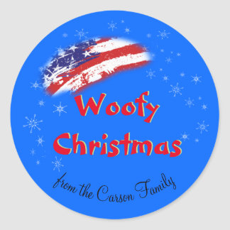 Woofy Christmas American Flag USA Classic Round Sticker