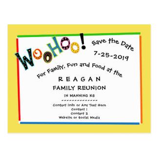 Woohoo Sounds Like Fun Reunion Party Save the Date Postcard
