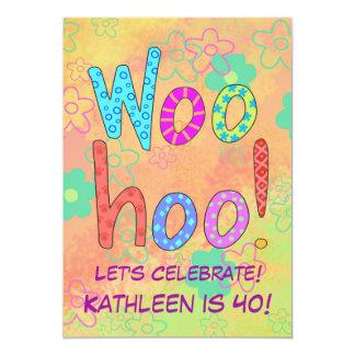 WooHoo Word Art Orange 40th Birthday Invitation