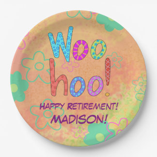 Woohoo Word Text Art Name Personalized Retirement 9 Inch Paper Plate