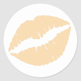 Wool Lipstick Print Round Sticker