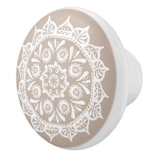 Wool Mandala Ceramic Knob