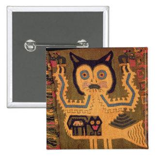 Woollen figure of a jaguar, Paracas Culture 15 Cm Square Badge