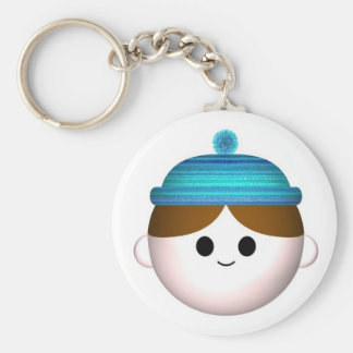 Woolly hat basic round button key ring