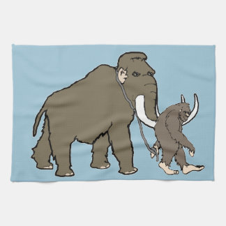 Woolly Mammoth And Bigfoot Kitchen Towels