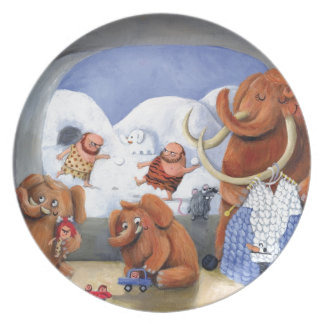 Woolly Mammoth Family in Ice Age Dinner Plates