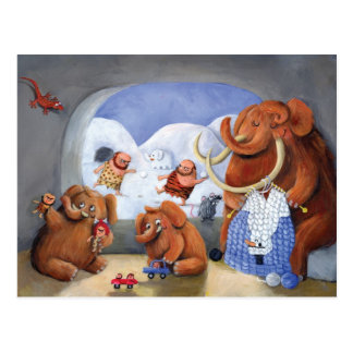 Woolly Mammoth Family in Ice Age Postcard
