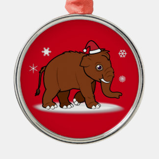 Woolly Mammoth in Santa Hat Metal Ornament