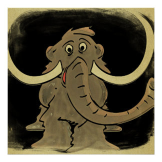 Woolly Mammoth Vintage Looking Poster