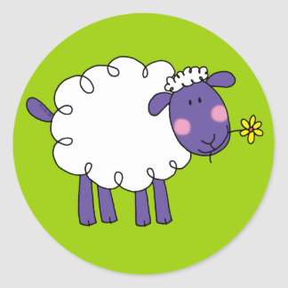 Woolly sheep classic round sticker