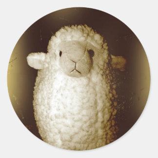 Wooly Fuzzy Sepia Lamb Round Sticker
