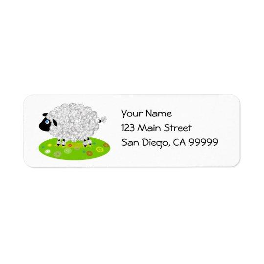 Wooly Lamb in the Flower Field Return Address Label