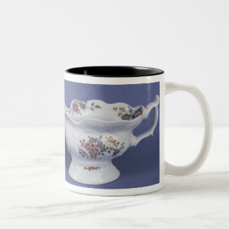 Worcester shaped oval sauce boat and octagonal Two-Tone coffee mug