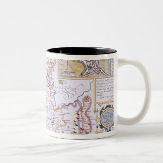 Worchestershire, engraved by Jodocus Hondius Two-Tone Coffee Mug