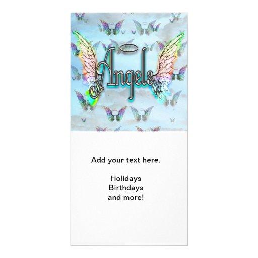 Word Art Angel with Wings & Halo - Rainbow colored Custom Photo Card