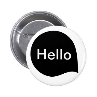 Word Bubble - Black on White Pinback Buttons